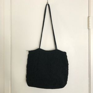 Woven black basic purse
